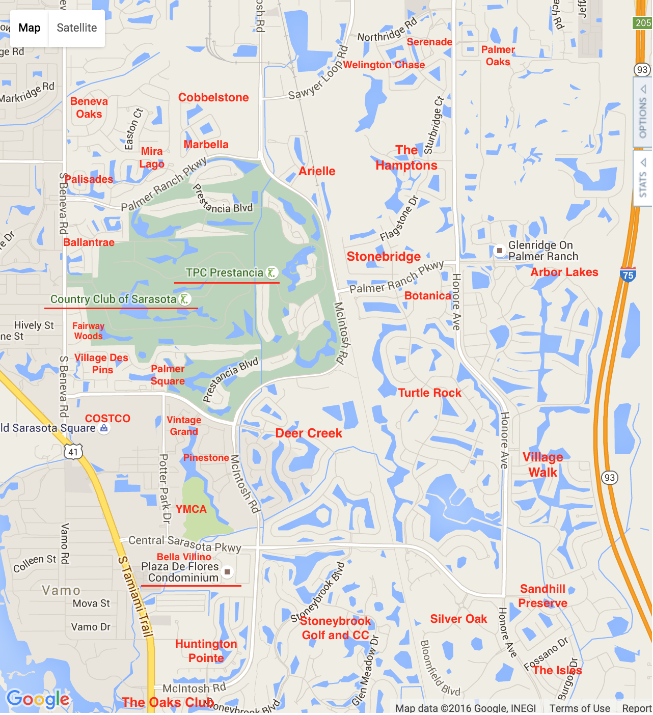 Palmer Ranch Map Palmer Ranch Neighborhoods - Florida map for sale